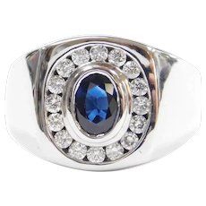 Gents 1.48 ctw Sapphire and Diamond Ring 14k White Gold ~ Men's