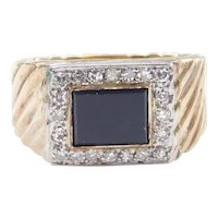 Gents Black Onyx and Diamond .50 ctw Ring 10k Gold Two-Tone ~ Men's