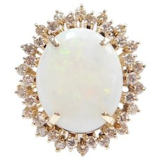 Mid Century Breathtaking Opal and Diamond 10.43 ctw Halo Ring 14k Gold