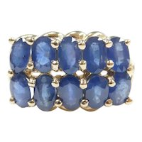 Sapphire 4.00 ctw Double Row Band Ring 10k Gold