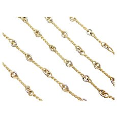 Fancy Twisted Link Chain / Necklace 14k Gold Two-Tone