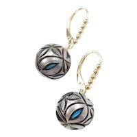 Galatea Pearl and Man Made Turquoise Floral Carved Orb Drop Earrings 14k Gold Lever Backs