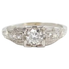 Art Deco Diamond .46 ctw Engagement Ring Platinum