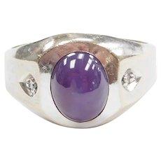 Gents Purple Star Sapphire and Diamond 3.87 ctw Ring 14k White Gold ~ Men's