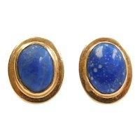 Vintage Lapis Lazuli Stud Earrings 18k Gold