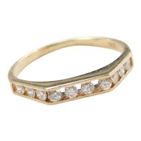 Diamond .30 ctw Geometric Flat Top Band Ring 14k Gold
