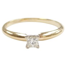 Diamond .24 Carat Solitaire Engagement Ring 14k Gold Two-Tone