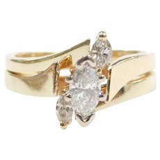 Marquise Cut Diamond .60 ctw Engagement Ring 14k Gold