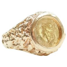 Gents Vintage 1851 $1 Liberty Head Coin Nugget Ring 14k and 22k Gold
