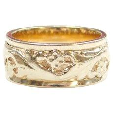 Floral Wedding Band Ring 14k Gold
