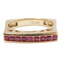 Ruby .36 ctw Square Band Ring 14k Gold