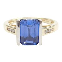 Lab Created Chatham Sapphire and Diamond 2.95 ctw Ring 10k Gold Two-Tone