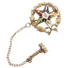 Vintage Enamel Easter Star Pin / Brooch with Gavel