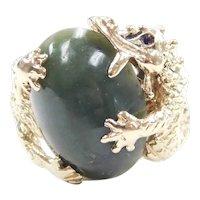 Jade Dragon Ring 14k Gold