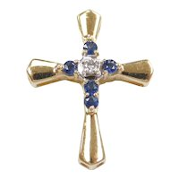 Natural Sapphire and Diamond .29 ctw Cross Pendant 10k Gold Two-Tone