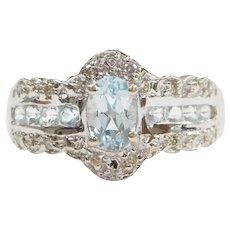 Aquamarine and Diamond .84 ctw Ring 10k White Gold