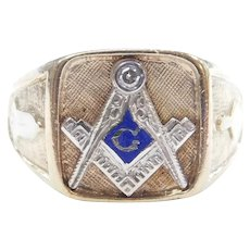 Gents Diamond .04 Carat and Blue Enamel Junior Warden Masonic Ring 10k Gold ~ Men's