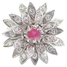Mid-Century Natural Ruby and Diamond .70 ctw Flower Ring 14k White Gold