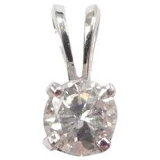 Diamond .23 Carat Solitaire Pendant 14k White Gold