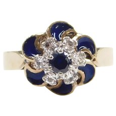 Vintage Retro Sapphire and Diamond .35 ctw Blue Enamel Swirl Ring 9k Gold Two-Tone