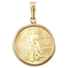 $5 1/10th Oz American Gold Eagle 1988 Coin Pendant 14k and Fine Gold