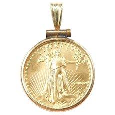 $5 1/10th Oz American Gold Eagle 1987 Coin Pendant 14k and Fine Gold