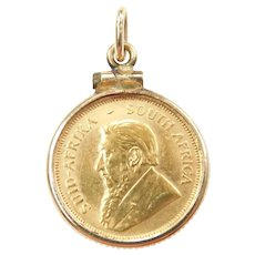 1/10th Oz Krugerrand South Africa 1980 Coin Pendant 14k and Fine Gold
