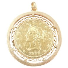 Patriotic Red Ruby, Blue and White Spinel 9.12 ctw 1888 $10 1/2 Oz Liberty Head American Gold Eagle Coin Pendant 14k & 22k Gold