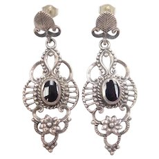 Black Onyx Ornate Flower / Floral Dangle Earrings Sterling Silver
