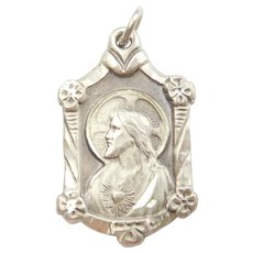 Vintage Religious Jesus Charm with Floral Detail Sterling Silver