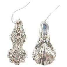 Vintage Embossed Spoon Handle Mismatched Dangle Earrings Sterling Silver