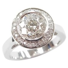 Diamond 1.11 ctw Halo Engagement Ring 14k White Gold Designer Effy