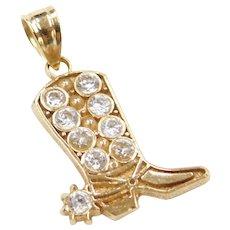 10k Gold Faux Diamond Cowboy Boot Charm / Pendant