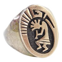 Sterling Silver & 14k Gold Men's Kokopelli Ring