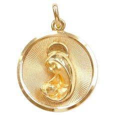 18k Gold Religious Virgin Mary Pendant / Charm
