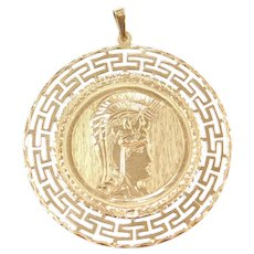 18k Gold BIG Greek / Roman Soldier and Parthenon Disk Charm / Pendant Reversible