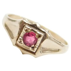 Edwardian 10k Gold Red Paste Ring ~ Baby / Childs