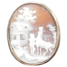 Vintage Carved Shell Cameo Scene in 9k Gold Frame ~ Pin / Brooches / Pendants