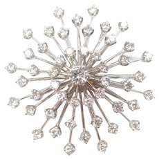 1.91 ctw Diamond Cluster Pendant / Pin 14k White Gold