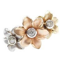 .11 ctw Diamond Tri-Color Flower Ring 14k Gold