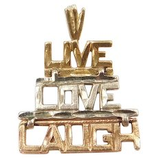 14k Gold Tri-Color Live, Love, Laugh Charm