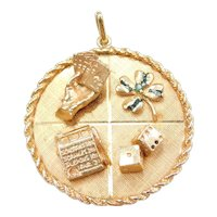 BIG 14k Gold Gambling LUCK Amulet Charm ~ Playing Cars, Slot Machine, Four Leaf Clover, Dice