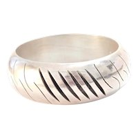 Vintage Mexico Sterling Silver Wide Bangle Cut Work circa 1970's