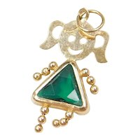 14k Gold May Birthstone Girl Charm ~Faux Diamond, Faux Emerald