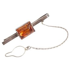 Vintage Sterling Silver & Baltic Amber Tie Bar Circa 1950's