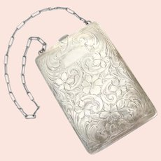 Hand Carved 1920's Sterling Silver Coin Purse / Compact Wristlet