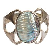 BIG Sterling Silver Colorful Abalone Shell Bracelet MEXICO