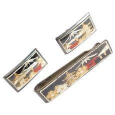 Vintage Cuff Links & Tie Bar SET 950 Silver Japan / Japanese Damascene circa 1950's