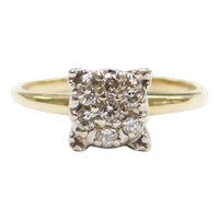 .15 ctw Diamond Illusion Cluster Top Engagement Ring 14k Gold