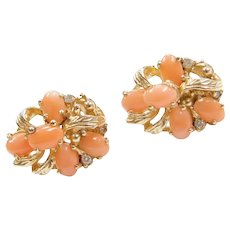 14k Gold Coral and Diamond Cluster Earrings